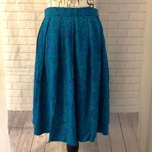Vintage Pendleton blue green floral pleated skirt